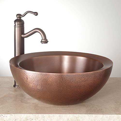 "Signature Hardware 346799 Casalina 16"" Circular Double-Wall Hammered Copper Vessel Bathroom Sink"