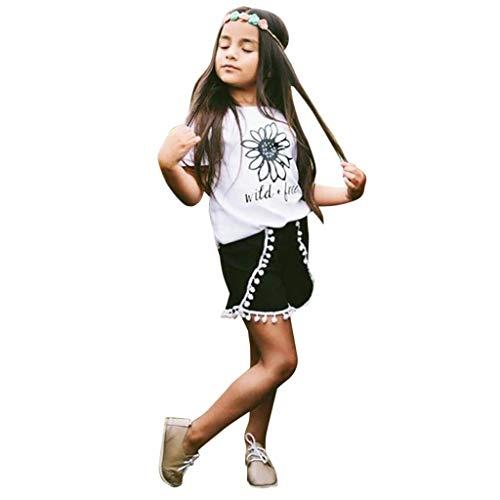 TEVEQ Toddler Kids Set Girl Sunflower Letter T-Shirt Tops Tassel Shorts Outfits Set White (In The Hoop Elf On The Shelf Clothes)