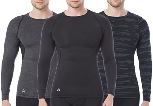 - FITTIN Men's Athletic Long Sleeve Compression T Shirt - for Sport Running Basketball Football Small 3-Pack, Dare Grey/Solider Grey/Black