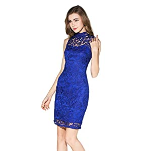 Little Smily Women's Crochet Lace Form Fitting High Neck Mini Cocktail Bodycon Dress, Royal Blue, L