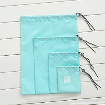 King/&Pig 4 size//set Drawstring Bags,Travelling Bags,Ditty Bag Cord Bags,Travel Waterproof Storage Bags,Underwear Makeup Storage Bags,Shoes Bags blue
