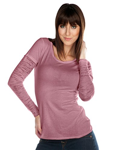 Kavio! Junior Sheer Jersey Raw Edge Twisted Round Neck Two-Fer Burnout Long Sleeve Antique Rose XL