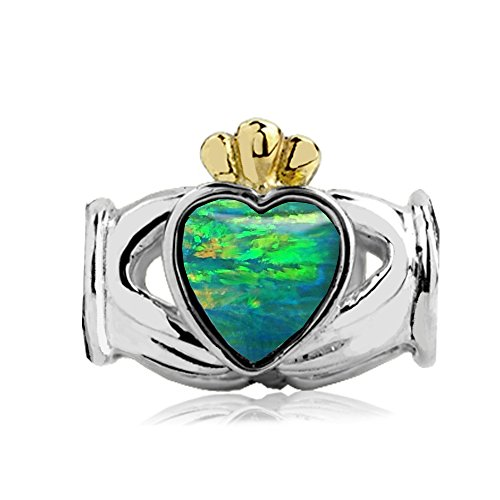 Jovana Sterling Silver-yellow Gold Claddagh Bead Charm with Lab Green Opal, Fits European charm Bracelet - Yellow Gold Opal Bracelets