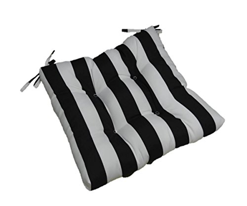 Resort Spa Home Decor Indoor Outdoor Black and White Stripe Universal Tufted Seat Cushion with Ties for Dining Patio Chair – Choose Size 20 x 20