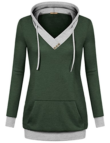 Green Kangaroo Hoody Sweatshirt - Miusey Pullover Sweatshirt Hoodie, Womens V-Neck Long Sleeve Casual Sweaters with Kangaroo Pocket Tops Lightweight Thin Pull Over Baseball Casual Fitted Tunics Green Medium