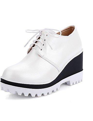 ZQ Zapatos de mujer-Tac¨®n Cu?a-Cu?as / Punta Redonda-Tacones-Oficina y Trabajo / Casual-PU-Negro / Rosa / Rojo / Blanco , pink-us10.5 / eu42 / uk8.5 / cn43 , pink-us10.5 / eu42 / uk8.5 / cn43 white-us5 / eu35 / uk3 / cn34