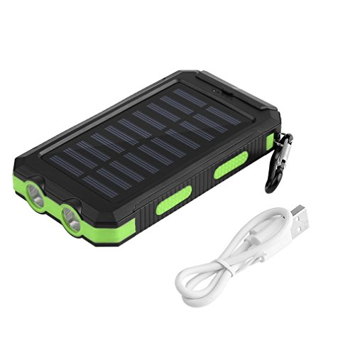 Yongvigour Waterproof 30,000mAh Dual USB Solar Portable Charger USB Battery Pack Power Bank with Compass 2 LED Light for Outdoor Emergency (Green)