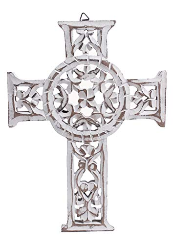 The StoreKing Wooden Wall Hanging French Cross 12