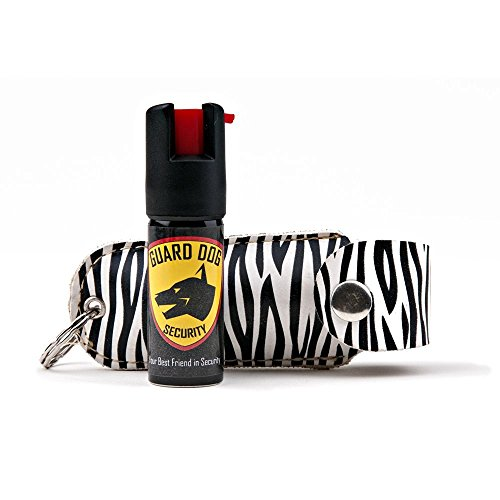 (Guard Dog Security Pepper Spray Keychain, Red Hot Self Defense Spray with UV Dye - Choose a Leather Holster Color, Zebra - Black/White)