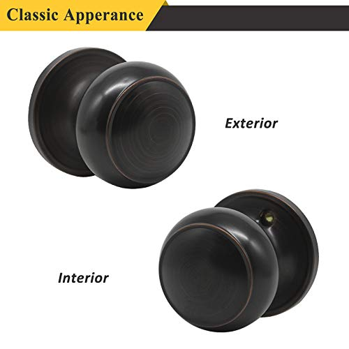 Probrico Passage Door Knob Handles Interior Hall/Closet Keyless Locksets Oil Rubbed Bronze 6 Pack by Probrico (Image #2)
