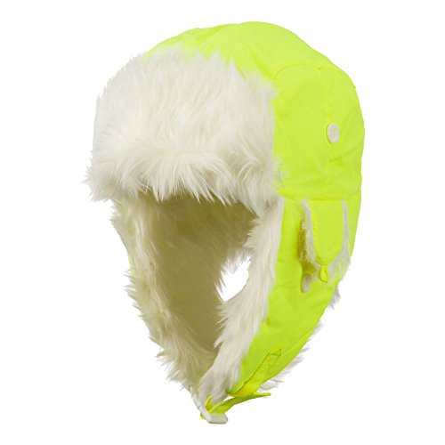 Neon Faux Fur Aviator Trooper Hat - Neon Yellow L-XL
