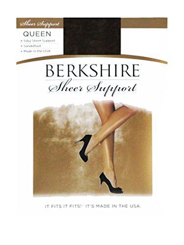 Berkshire Women's Plus-Size Queen Silky Sheer Support Pantyhose - Control Top Sandalfoot 4417, Off Black, - Pantyhose Support Lycra Control Top