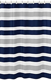 Amazon Com Caro Home Fabric Shower Curtain Wide Navy Blue White And
