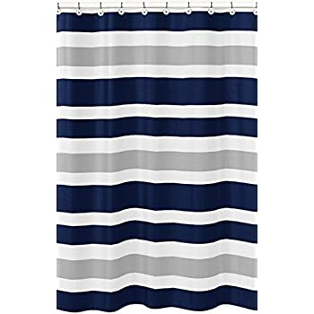 Sweet Jojo Designs Navy Blue, Gray And White Kids Bathroom Fabric Bath Teen  Stripe Shower