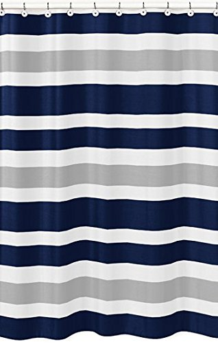 Sweet Jojo Designs Navy Blue Gray And White Kids Bathroom Fabric Bath Teen Stripe Shower
