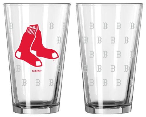 [Boelter Brands - Boston Red Sox Satin Etch Pint Glass Set] (Sox 16 Ounce Satin)