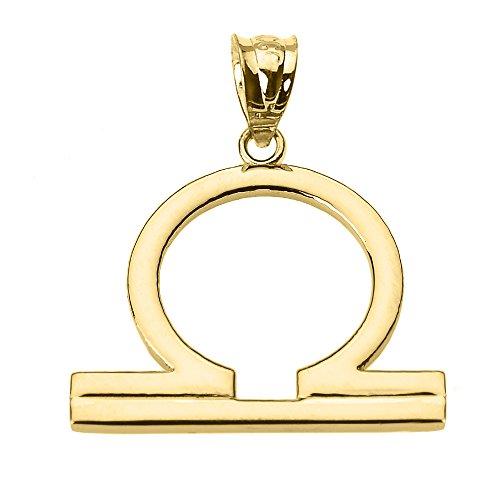 Personalized 14k Yellow Gold Libra Zodiac Sign Charm Pendant