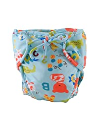 Adjustable and Stylish Infant Swim Diaper with Ties, Size Medium, Blue