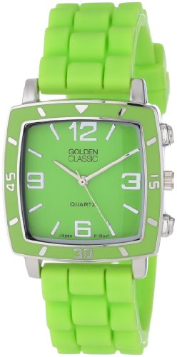 """Golden Classic Women's 2213-Green """"Social Jelly"""" Trendy Square Rubber Strap Watch"""