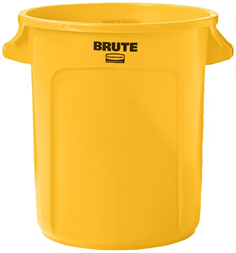 Rubbermaid Commercial FG261000YEL BRUTE Heavy-Duty Round Waste/Utility Container, 10-gallon, Yellow - Slim Jim Dolly