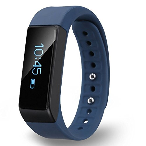 Bluetooth 4.0 Fitness Tracker Bracelet Wearble Smart Band for Activity Tracking with Pedometer, Calorie, Counter and Alarm, Touch Screen, Sleeping Monitor Smart Band Watch for iOS and Android (Blue)