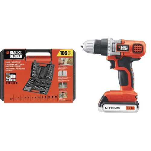 Black & Decker BDA91109 Combination Accessory Set, 109-Piece with LDX120C 20-Volt MAX Lithium-Ion Cordless Drill/Driver Black Cordless Drill