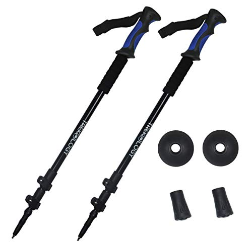 TREKONE Collapsible Lightweight Trekking Poles – Adjustable Aluminum Telescopic Hiking Pole or Walking Sticks with Quick Release Lever Lock and Ergonomic Grip (Black with Blue Handle)
