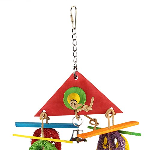 SMiLEiZE-Bird-Toy-Colorful-Pure-Loofah-with-Leather-Wood-Hanging-Bell-for-Medium-Birds-65-inch-L-81-inch-W-A-Great-Chewing-Parrot-Toy-for-Cockatoo-African-Greys-and-other-Amazon-Birds