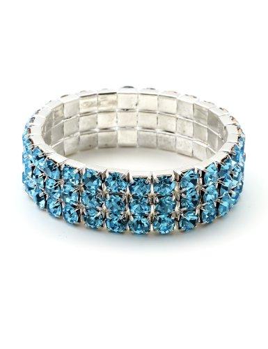 Silver Aqua Rhinestone 3 Rows Stretch Bracelet (Aqua Rhinestone Bracelet)