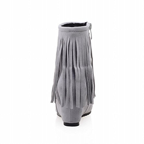 Carolbar Para Mujer Moda Punta Estrecha Chic Borlas Con Cremallera Cuña Talón Vestido Botas Gris