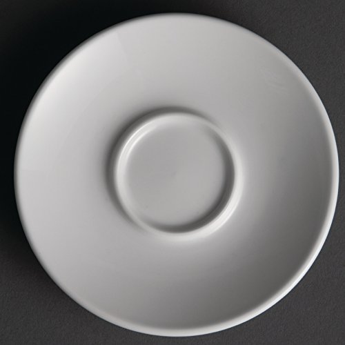 12X Olympia Whiteware Espresso Saucers 120mm Porcelain White Plate Restaurant