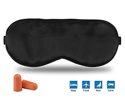 Fitglam Natural Silk Sleep Mask Eye Covers for Sleeping with Free Ear Plugs