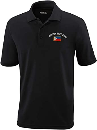 Philippines Flag Shark Letter Mens Short Sleeve Polo Shirt Classic-Fit Blouse Sport Tee