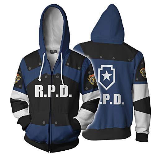 Leon Kennedy Hoodie Resident Evil Cosplay Costume Jacket Zip Sweatshirt Men Coat Top Clothing for Spring Autumn for $<!--$25.99-->