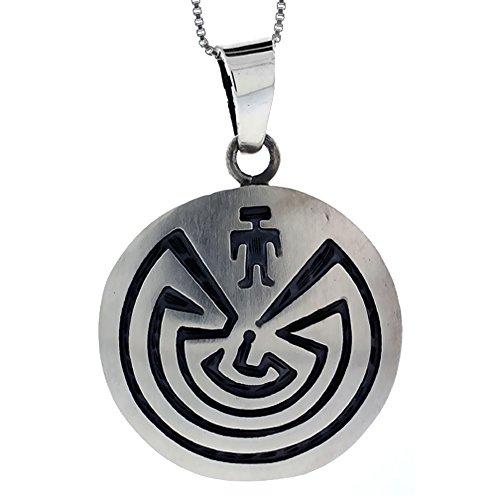 Sterling Silver Maze Pendant Handmade, 1 5/16 inch long ()
