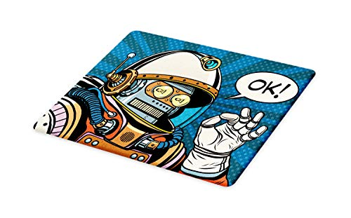 Ambesonne Modern Cutting Board, Futuristic Comics Super Heros Like Robot in a Spacesuit with OK Words Artwork Print, Decorative Tempered Glass Cutting and Serving Board, Large Size, Blue Orange ()