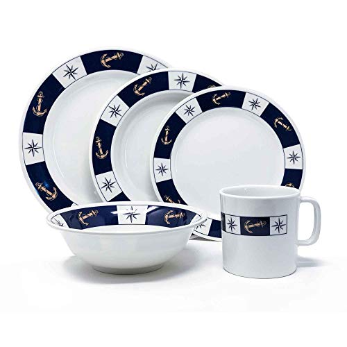 Five Oceans Melamine Dinnerware 20 Pieces Set by - Unbreakable 100% Durable Melamine - Marine design - Includes Dinner, Soup, and breakfast plates plus Bowls and Mugs. FO-3822-1