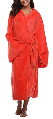 Women's Long Hooded Plush Bathrobe Soft Fleece Robe Velvet Bathrobe Sleepwear Warm Nightgown Orange red L ()