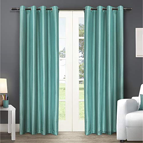 Exclusive Home Curtains Chatra Faux Silk Window Curtain Panel Pair with Grommet Top, 54x108, Teal, 2 Piece (Curtains Teal Silk)