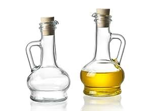 Set of 2 Glass Oil & Vinegar Bottles with Cork (look alike) Stopper