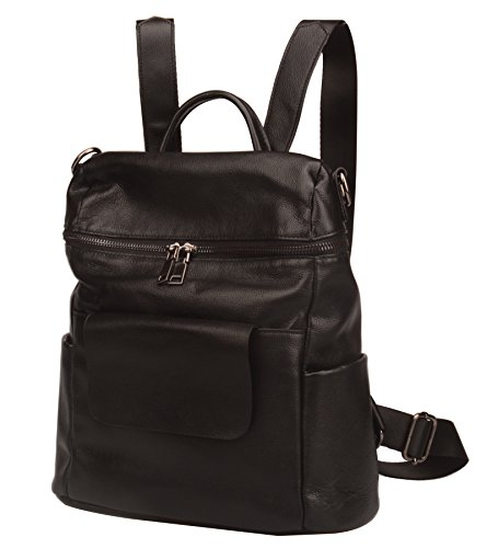 Fiswiss Women's Genuine Leather Fashion Backpack School Backpack Purse Handbags (Black) by Fiswiss (Image #2)