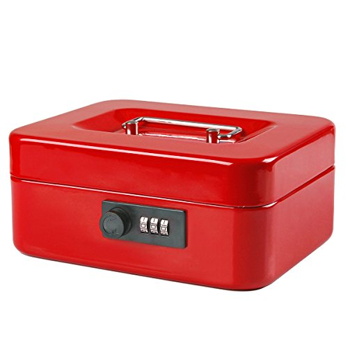 Jssmst Small Cash Box with Combination Lock – Durable Metal Cash Box with Money Tray Red, 7.87 x 6.3 x 3.35 inches, CB0703M by Jssmst