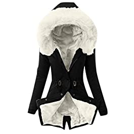 Hotsell〔^ㄥ^〕Women's Outerwear Women Winter Faux Fur Hood Coat Lady Thicken Puffer Slim Zipper Jacket Parka Faux Fur Lined Warm Jacket White