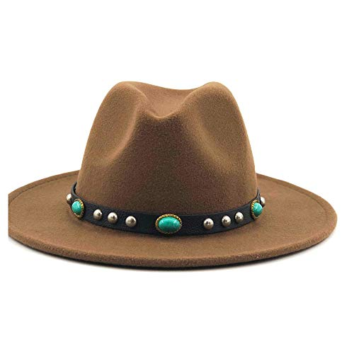 Classic Vintage Fedora Hats Men Women Fedora Hat Turquoise Leather With Wide Brim Wool OutBack Casual Hat Panama Hat Top Jazz Hat Costume Accessory Gifts Unisex ( Color : Dark Khaki , Size : 56-58cm )