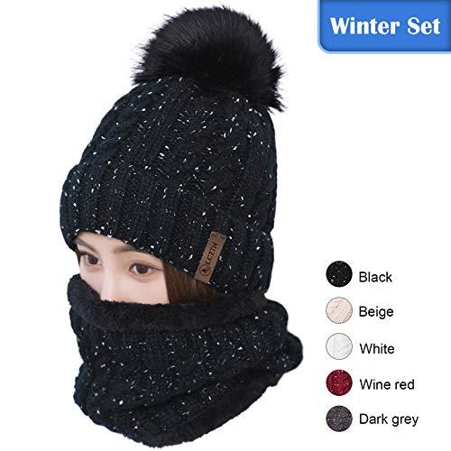 (LCZTN Womens Pom Beanie Hat Scarf Set Girls Cute Winter Ski Hat Slouchy Knit Skull Cap with Fleece Lined)