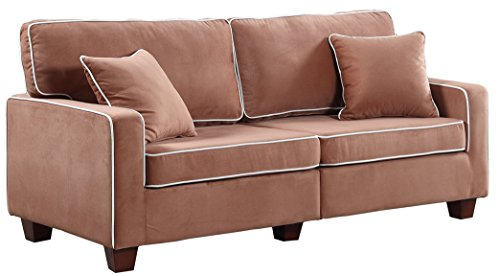 Divano Roma Furniture Collection - Modern Two Tone Velvet Fabric Living Room Love Seat Sofa - Various Colors (Brown)