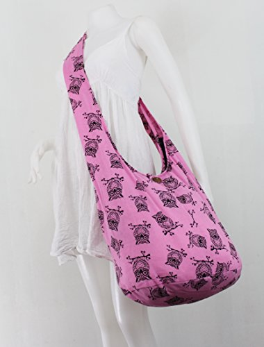 Messenger Boho NaLuck Vintage Hippie body Bag Shoulder Sling Pink Cross Owl Large wqqSBWf8A