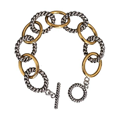 Gempara Designer Inspired 18k Two Tone Gold Plated Twisted Cable Link Chain Bracelet (Length- 7 3/4