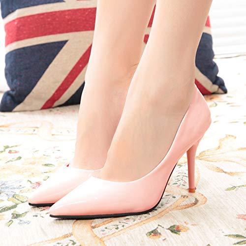 Yukun zapatos de tacón alto Los Zapatos De Las Señoras del Alto Talón De Las Mujeres Trabajan La Manera De Las Señoras Pink