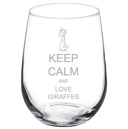Wine Glass Goblet Keep Calm and Love Giraffes (17 oz Stemless)